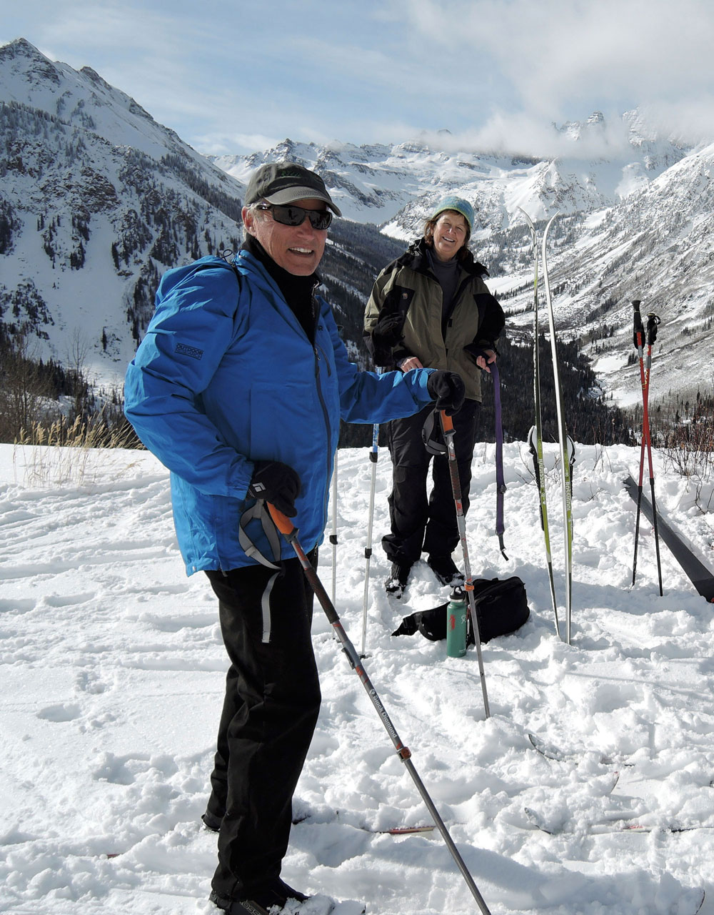 Peter Waller and Shelley Kaup enjoy ski touring above Ashcroft on a hut trip with their spouses and friends.